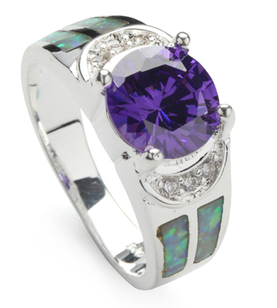 SHUNXUNZE Rings Purple Cubic Zirconia and white Peridot opal Silver Plated Shinning Best Sellers R178 size 6 7 8 9 Rock
