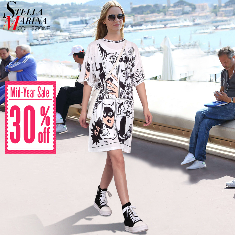 2019 Korean Style Summer Women White Casual Beach Dress Plus Size Cartoon Print Lady Cute Midi Loose Kawaii Sun Dress Robe 2404