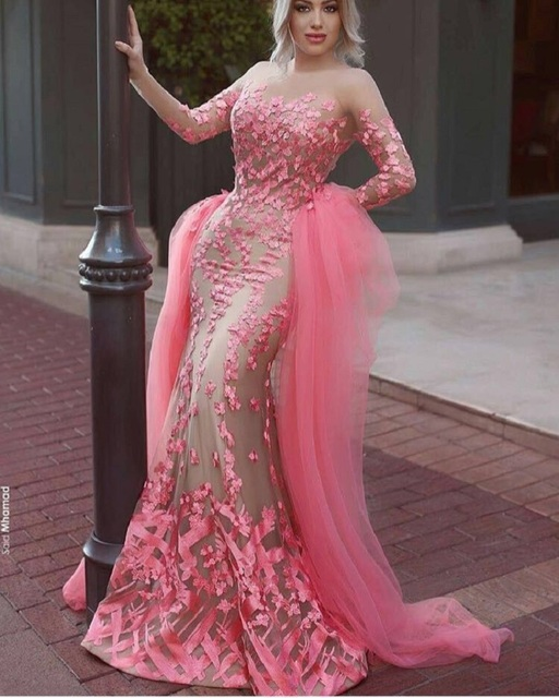 Gorgeous long sleeves muslim evening dress Arabic pink mermaid ...