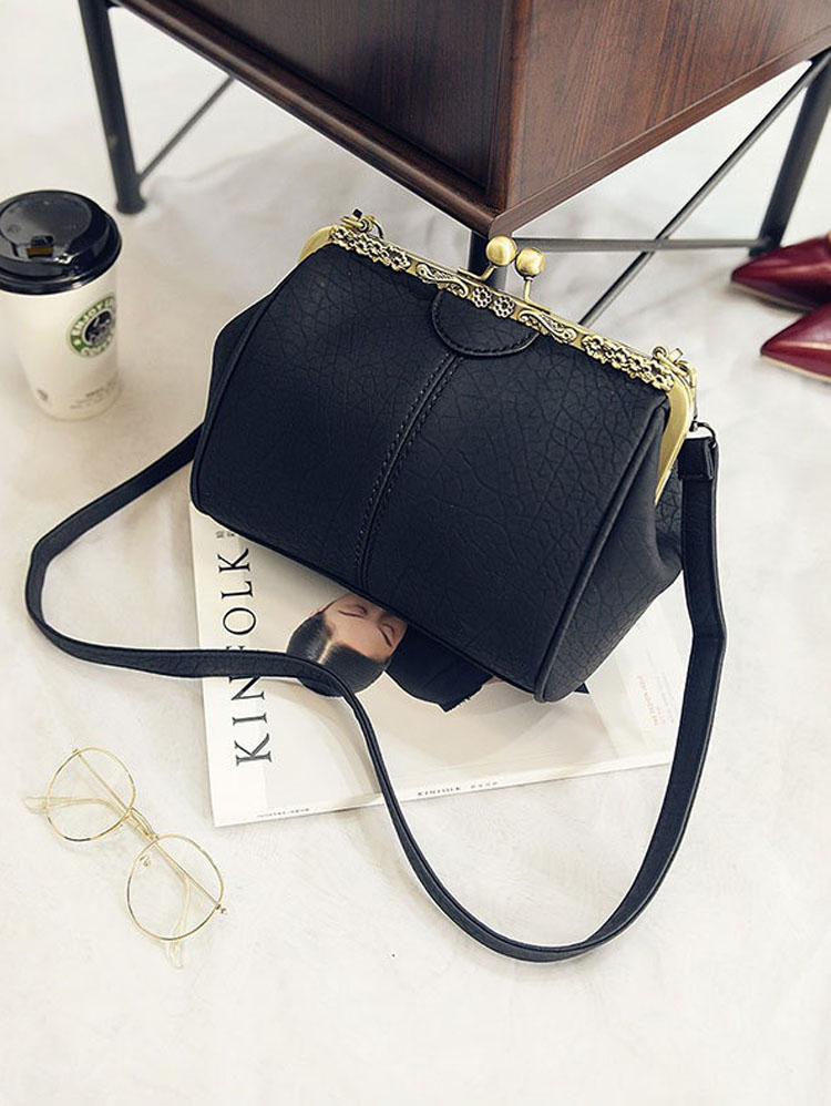 Women Shoulder Bag Leather Lady Handmade Vintage Retro Chic Victorian Style Kiss Lock Handbag Bag (12) 2