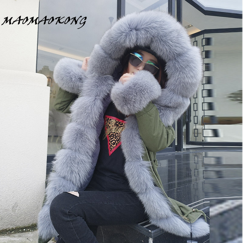 2017 Brand Long Real Fox Fur Coat With Detachable Collar Womens Winter Jackets Thick Warm Fur Lined Parka Natural Fur Coats fifty shades darker
