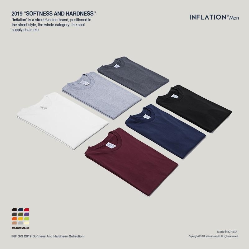 INFLATION Package Sale Plus Size Fashion Men Tshirts 100% Cotton O-Neck Men's Plain T Shirt 25 Solid Colors T-shirt 035S16
