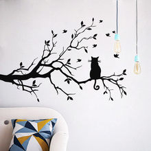 Cute Kitty On Tree Branch wall sticker decal Flying Birds Black Cat Animals Wall sticking Poster removable PVC Drop shipping(China)