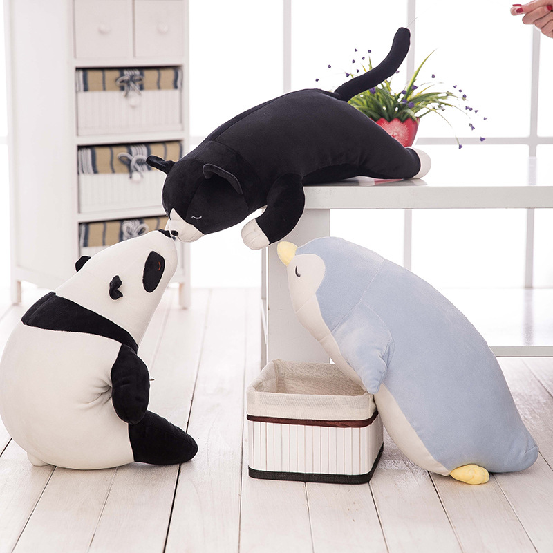 Giant Soft Stuffed Panda Penguin Sea Lions cat Soft Plush Toys for Children Stuff Animal Pillow Cushion Playmate Christmas Gift 1pc 65cm cartion cute u shape pillow kawaii cat panda soft cushion home decoration kids birthday christmas gift
