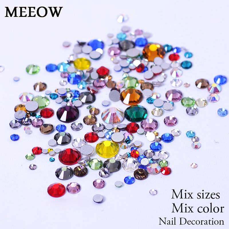 Mix Size Mix Colors Non HotFix Flatback Nail Art Rhinestones For Clothes Shoes  Decoration And DIY Design gitter 2 6mm citrine ab color resin rhinestones 14 facets round flatback non hotfix beads for 3d nail art decorations diy design