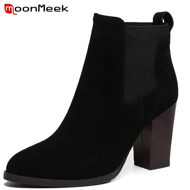MoonMeek 2018 fashion autumn winter boots woman pointed toe boots ladies genuine leather ankle boots moonmeek 2018 fashion autumn winter shoes woman pointed toe shoes woman wedges ladies boots women genuine leather ankle boots