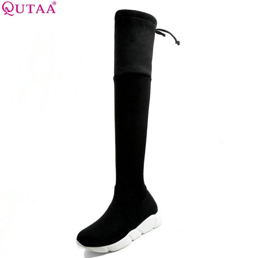 купить QUTAA 2019 Winter Boots Women Shoes Fashion Grey Black Women Over The Knee High Boots All Match Wedges Heel Boots Big Size 34-43 онлайн
