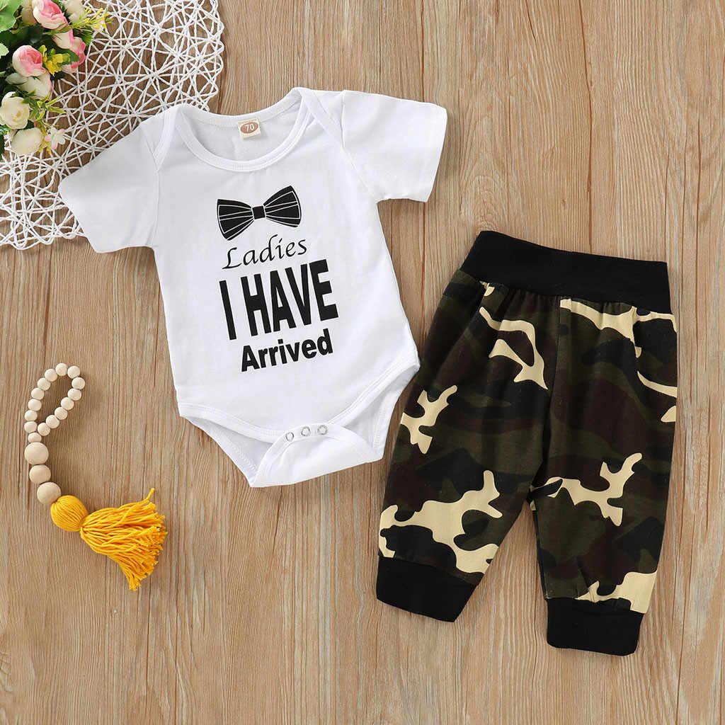 Conjunto de ropa de verano para bebé para niño niña carta de moda + Pantalones de estampado Casual 2 piezas ropa de bebé recién nacido para niño niña