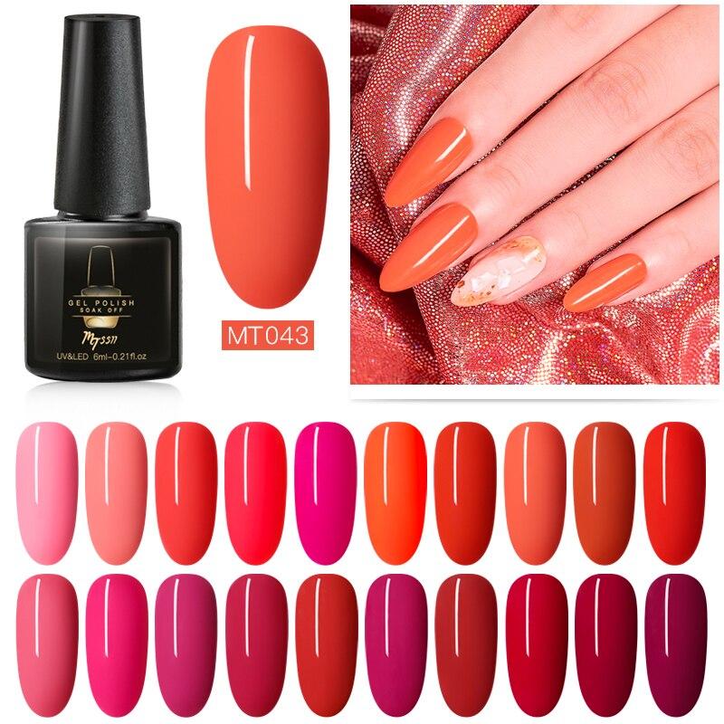 Mtssii 6ml Red Color Gel Polish Long Lasting Gel Nail Polish Soak Off UV LED Gel Varnishes DIY Nail Art Design Polish Gel