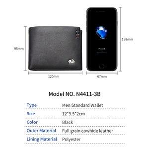 Image 5 - バイソンデニムビジネスカジュアル財布メンズソフト本物の牛革財布ブランドショートカードホルダー財布ファスナーコインケースN4411