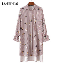 LaTeeDa!13 2017 New Print Blouses Women Striped Shirts Lady Fashion Short In Front Long Female Birds Floral Sleeves Bow Vestidos