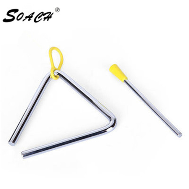SOACH 1pc new 4 Inch Triangle Orff Musical Instruments Band Percussion Educational Musical Triangolo For Children
