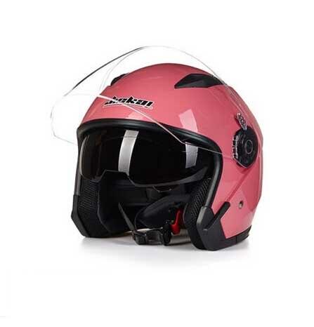 Femmes D'été double lentille moto casque, JIEKAI moitié du visage motocross moto moto casques rouge blanc noir taille L XL