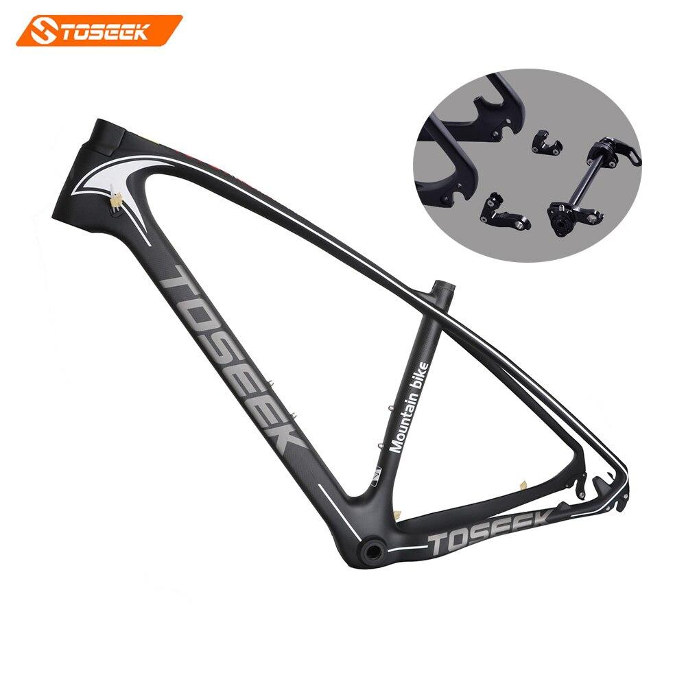2017Toseek Carbon mtb frame 27.5/29 ER carbon fiber frame BB30/BSA carbon bicycle frame free headset 3K matte15/17/19 inch 1250g