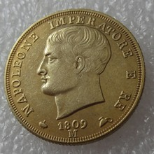 ITALIAN STATES, KINGDOM OF NAPOLEON, Napoleon I, 40 Lire, 1809-M Gold Copy Coin High Quality(China)
