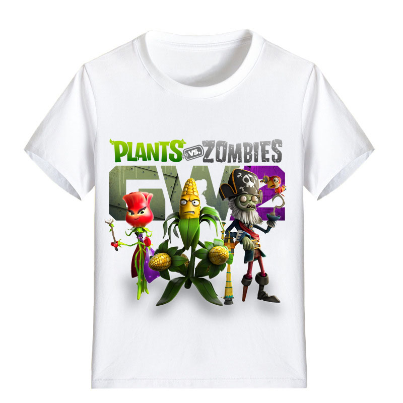 все цены на Children Cartoon T Shirt Plants vs Zombies Printed GW2 Garden Warfare Boy Kid Clothes Short Sleeve Girl Tee Shirt Kid P1223
