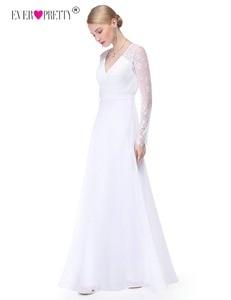 Image 2 - Pretty Illusionแขนยาวชุดแต่งงานลูกไม้สายVคอง่ายชุดเจ้าสาว2020 Vestido Noiva Praia Casamento