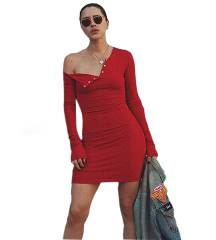 Sexy Button Fly Knitting Dress 2018 Autumn Winter Knitted Bodycon Dresses Long Sleeve Clubwear Party Female Slim GV412
