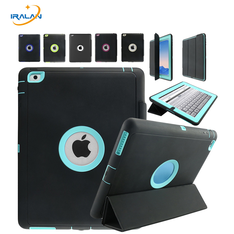 Kids Safe Armor Shockproof Heavy Duty Silicone Hard Case For iPad 2 3 4 9.7 inch Luxury Smart Wake up function Cover+Pen+Film