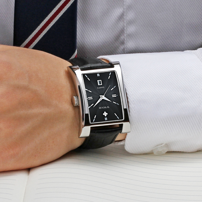 Brilham Hora Data dos homens Relógios Top Marca de Luxo Relógio Quadrado  masculino Pulseira de Couro À Prova D  Água Relógio De Quartzo Casuais  Homens de ... 916ec8d495