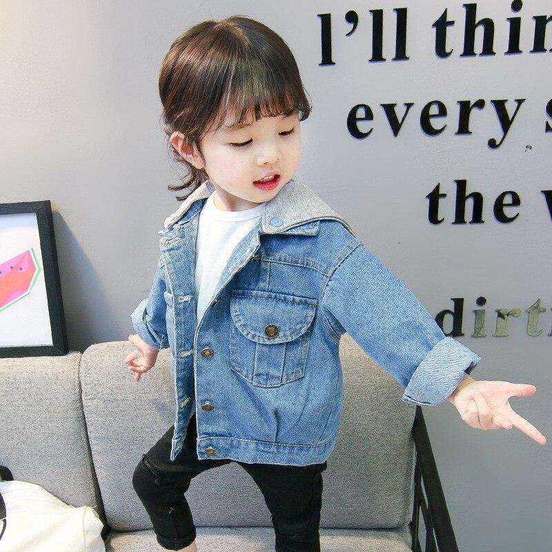 3300fb52b 2018 nuevas chaquetas de mezclilla para niñas de primavera 1-9 años chaqueta  con capucha para Bebés Ropa de vaquero de tendencia de alta calidad