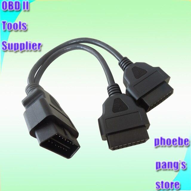 50 stücke Großhandel Hohe Qualität 16 pin OBD2 OBDII Splitter Verlängerung kabel auf Dual weibliche Y Kabel DHL EMS Schnelle lieferung