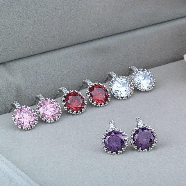 Simple Design Cz Diamond Earrings Imitation Studs For Women