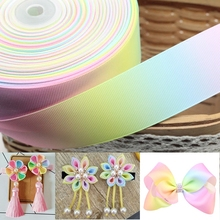 Hot sale 1 meter/lot 2 Size (25mm 50mm) gradient colors rainbow printed grosgrain ribbon headwear hair bow diy party decoration