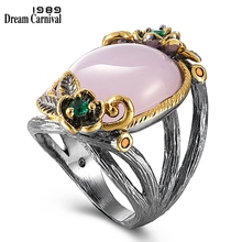 DreamCarnival 1989 Pinky Vintage Women Rings Season Hot Pick Big Stone Black Gold Color Jewlery Ring Party Must Have WA11659