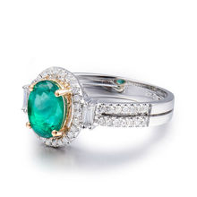 NEW Vintage Jewelry!! Oval 6x8mm Emerald With Brilliant Dia In Solid 14kt Two Tone Gold Ring G090795