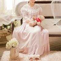 Long Night Gowns Women Sleepwear Ladies Nightgown Elegant Sleepwear Gown Princess L Dress 4 color