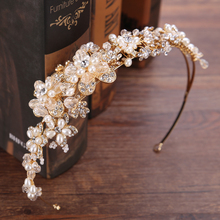 Vintage Gold Crystal Bride Tiara Crown High Quality Flower Pearl Rhinestones Hairbands For Wedding Hair Accessories Jewelry