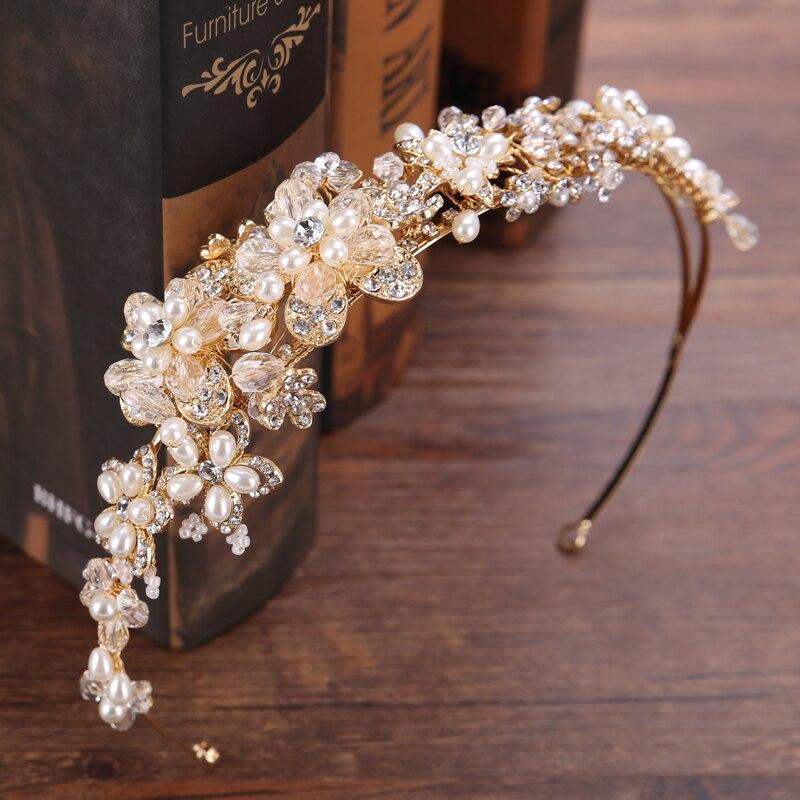 Vintage Or Cristal Mariée Diadème Couronne de Haute Qualité Fleur Perle Strass Bandeaux Pour Cheveux De Mariage Accessoires Bijoux