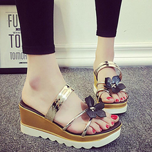Summer Fashion 2017 Women's Lady Casual Trendy Flower Design Thongs Girl Flip Flops Sandals Wedge Platforms Slippers Shoes L452