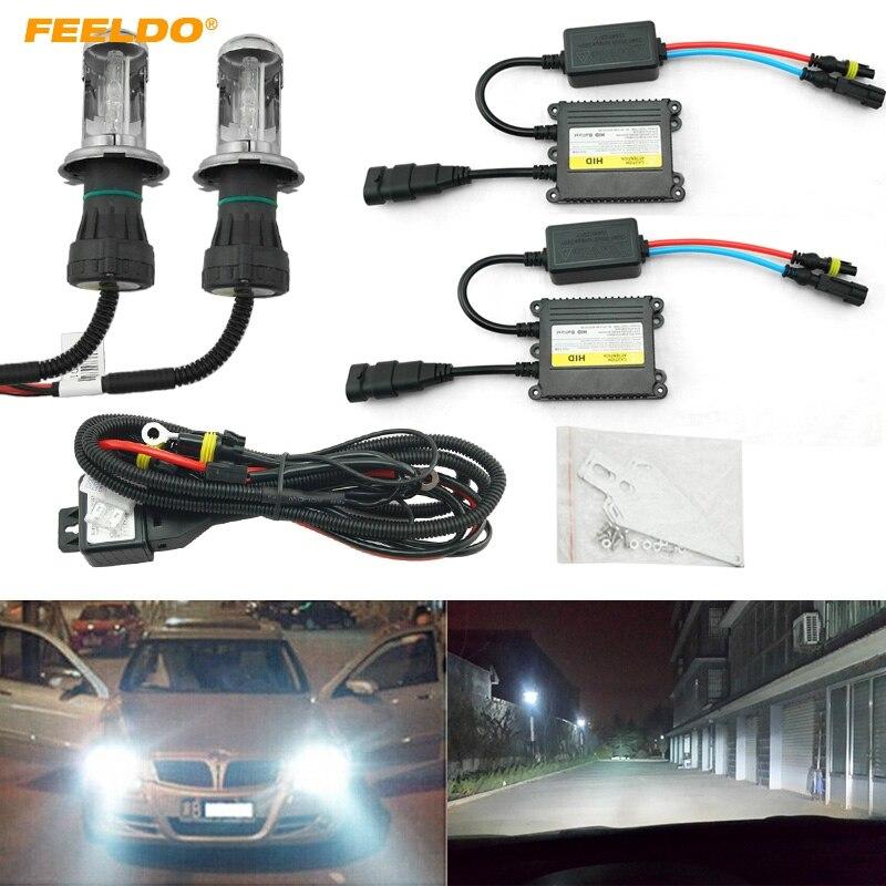 FEELDO 1 Set 35 W AC voiture phare H4 HID ampoule xénon Hi/Lo faisceau bi-xénon ampoule lumière numérique mince Ballast HID Kit