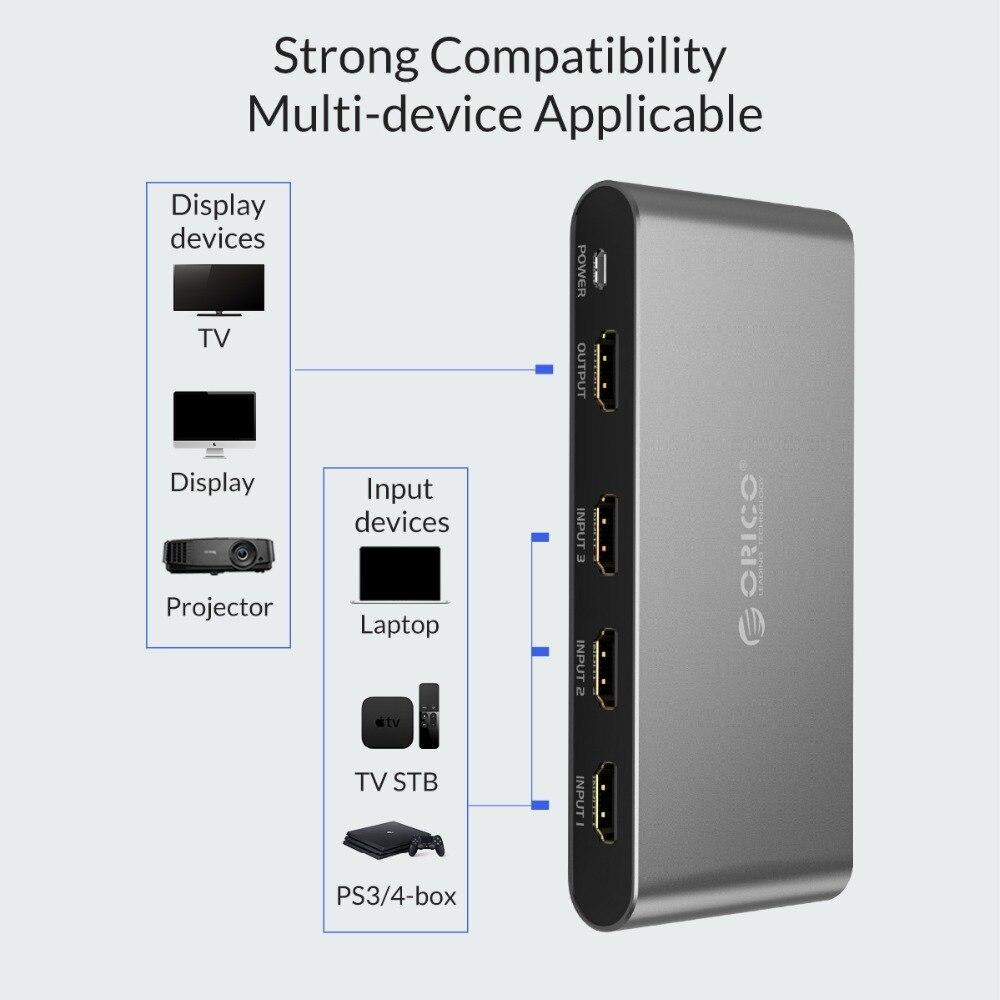 Купить с кэшбэком ORICO HDMI Switch Splitter 4K 60Hz HDMI2.0 Switcher 3 Input 1 Output HDMI Splitter for PC Laptop XBOX 360 PS3 PS4 TV Projector
