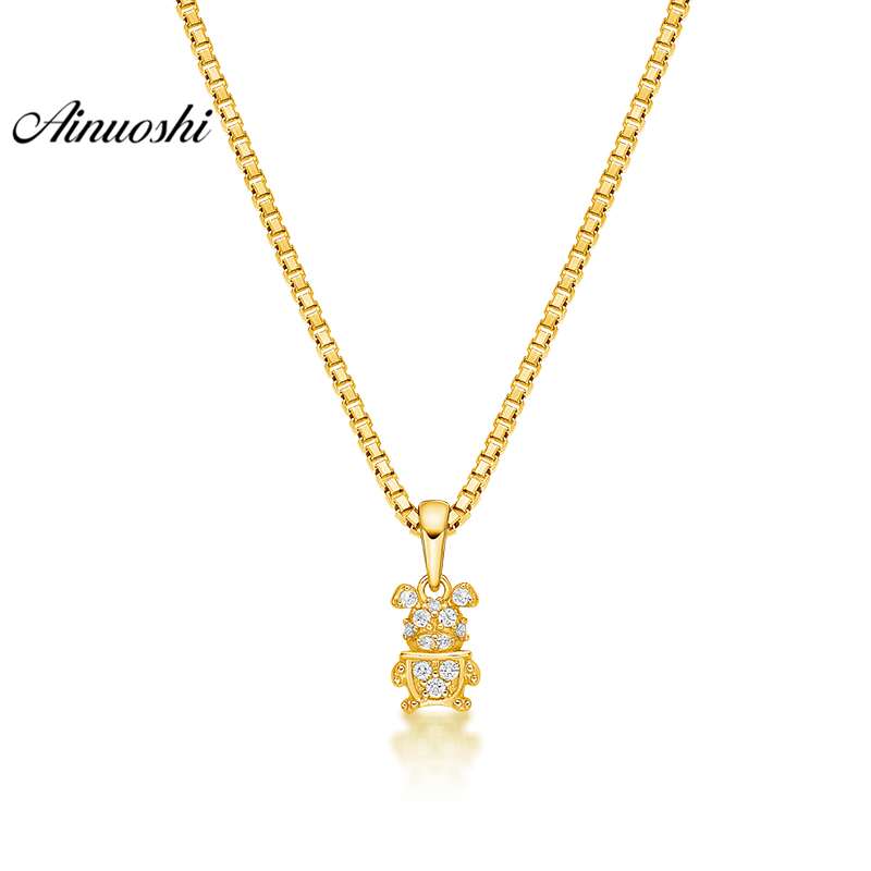 все цены на AINUOSHI 10K Solid Yellow Gold Pendant Little Bull Pendant SONA Diamond Women Men Children Jewelry Cute Animal Separate Pendant онлайн