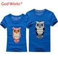 2016 Buena Calidad Animal Night Owl T-shirt Para Hombres Y Mujeres amantes Pareja Diseño de la Camiseta Tops Camisetas de Manga Corta O Cuello de Algodón