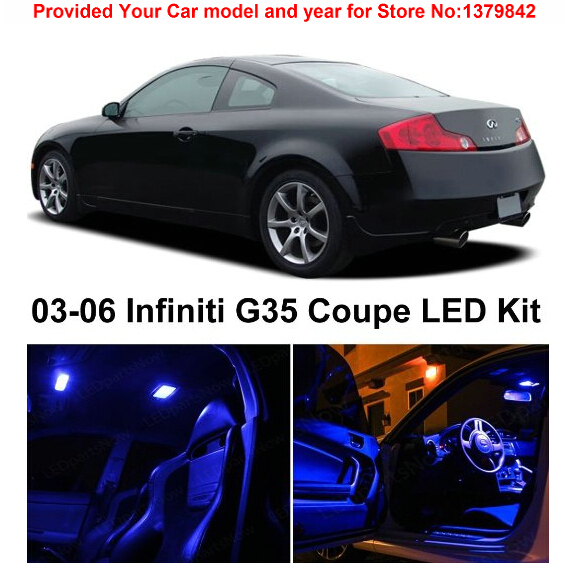 Free Shipping 7pcs Lot Car Styling Xenon White Package Kit Led Interior Lights For Infiniti G35 Coupe 2003 2006