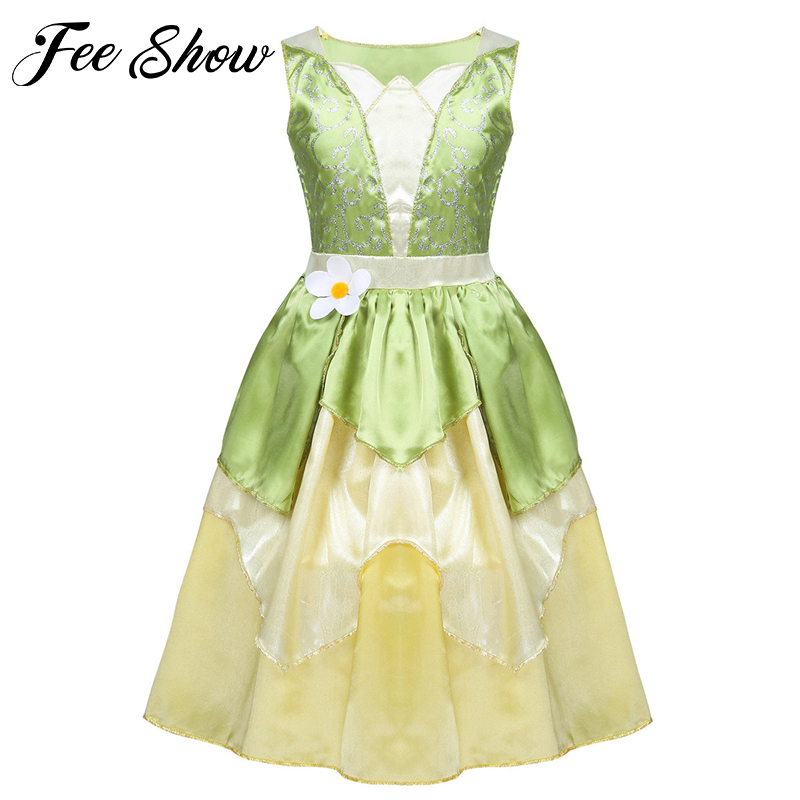 5-10 Years Girls Princess Dress Kid Christmas Green A Line Frog Clothes Frock Fancy Tiana Party Dress For Girl Cosplay Dress Up