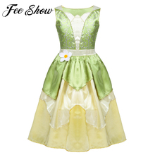 5 10 Years Girls Princess Dress Kid Christmas Green A Line Frog Clothes Frock Fancy Tiana Party Dress for Girl Cosplay Dress Up