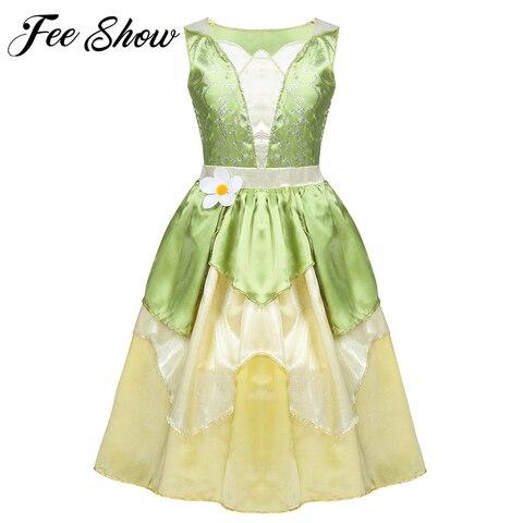 5 10 anos meninas princess dress kid natal uma linha verde sapo roupas tiana vestido