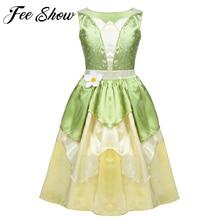 5 10 년 여자 공주 드레스 아이 크리스마스 그린 라인 개구리 옷 frock 멋진 티아나 파티 드레스 여자 코스프레 드레스
