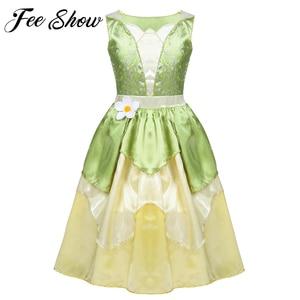 Image 1 - 5 10 jahre Mädchen Prinzessin Kleid Kind Weihnachten Grün EINE Linie Frosch Kleidung Kleid Phantasie Tiana Party Kleid für mädchen Cosplay Kleid Bis