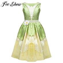 فستان الأميرات للبنات من سن 5 إلى 10 سنوات ، فستان حفلة على شكل ضفدع أخضر للكريسماس ، فستان تنكري للفتيات