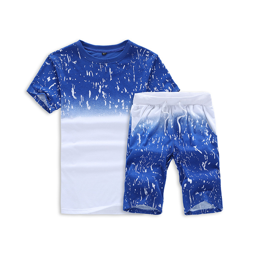 2018 Summer Mens Short Sleeve Pullover & Shorts S M L 4XL Blue Grey Black Fashion Casual Mens 2 Pieces Set Sleek Cool Comfort
