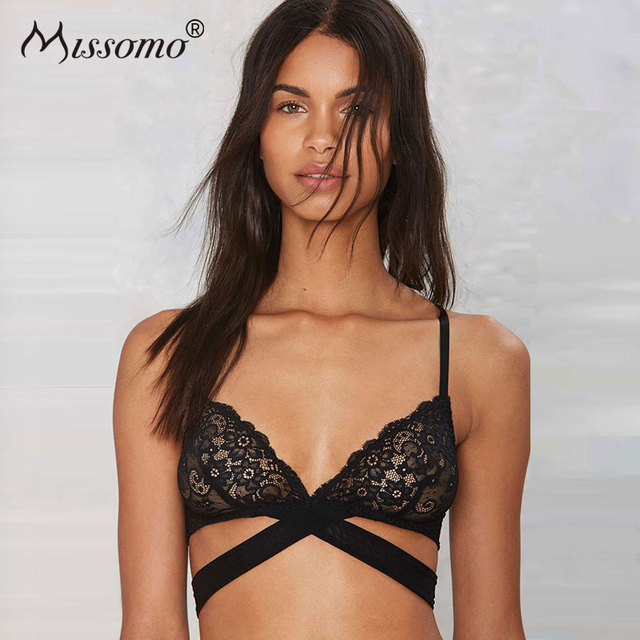 a8693ddf2f92f Missomo Mesh Transparent Lace Cross Bra Bralette Women Sexy Modis Hot Style  Trendy Brassiere Plus Size Porno Cup VS Lingerie