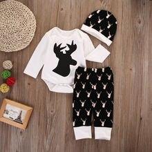 Newborn Baby Boy Girl Deer Clothes Long Sleeve Romper+Pants Hat 3PCS Outfits Set