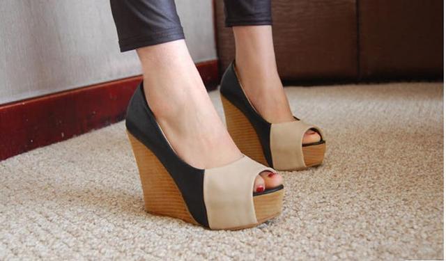 Sapatos de salto alto verão boca de peixe dedo aberto cunhas sapatos de plataforma sandálias para as mulheres sapato tamanho 30 a 43