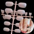 24pcs New fashion sweet candy decorative oval nails short paragraph Shrimp color P01X